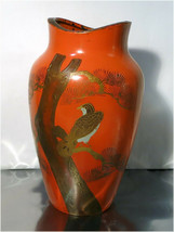 "Gorgeous 9"" Orange Art Deco Hand Painted Ceramic Vase - Japan - $27.87"