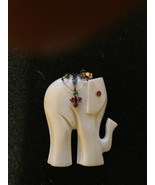 Estate 14K Gold Large Elephant Pendant w/ Rubies, Emeralds and Sapphires... - $219.00