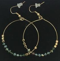 "USA Made Gemelli Gold Plated Green Crystal Glitter 1.5"" Hoop Earrings NWT image 2"