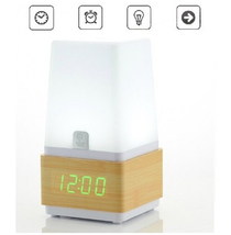 Wooden Alarm Clock with LED Touch Lamp - $59.88