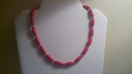 Handmade Red Wood Beaded Necklace - $4.50