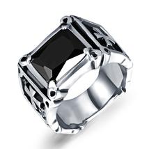 Mens Black Cubic Zirconia Stainless Steel Ring Charm Elegant Wedding Band - $16.98