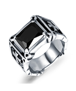 Mens Black Cubic Zirconia Stainless Steel Ring Charm Elegant Wedding Band - $16.98