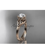 14kt rose gold diamond celtic trinity knot wedding ring, engagement ring... - $650.00