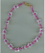 Handmade beaded necklace, rose quartz chips, glass pearls, seed beads, - $11.99