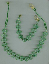 Handmade beaded necklace set, gemstones, seed beads - $9.75