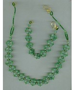 Handmade beaded necklace set, gemstones, seed beads - $9.75