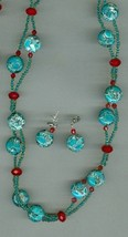 Handmade beaded necklace set, magnesite, crystal, seed beads, necklace 3... - $9.50