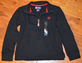Boy's Chaps Black Long Sleeve 1/4 Zip Polo Pullover Shirt Top Sizes 4 - 20 - $13.99