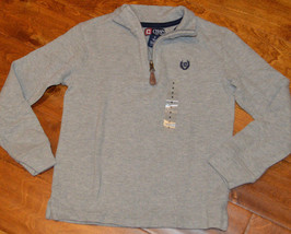 Boy's Chaps Gray Heather Long Sleeve 1/4 Zip Polo Pullover Shirt Top 4,5,6,7,18 - $13.99