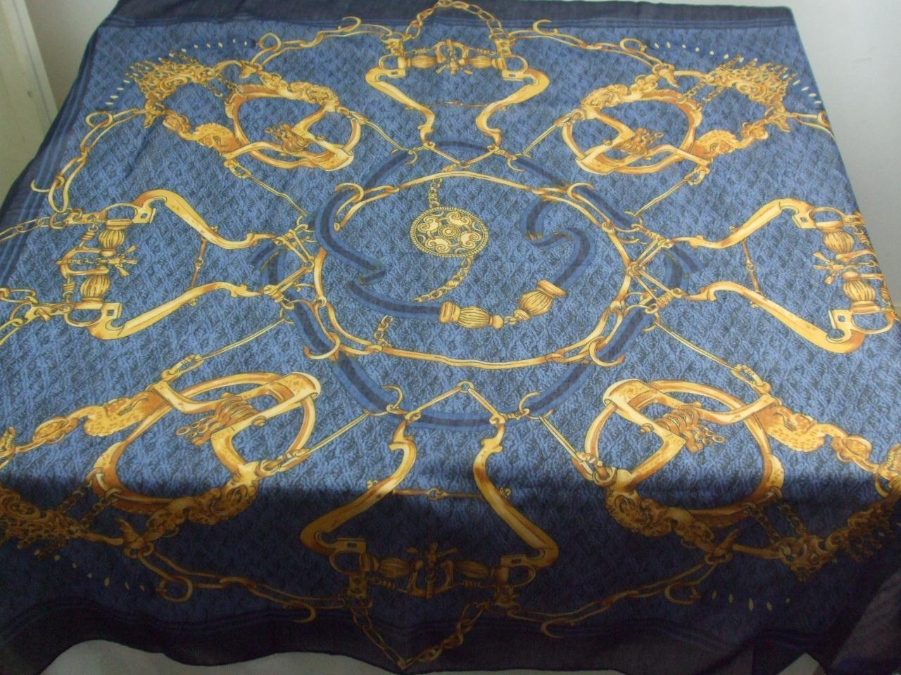"Primary image for Scarf Wrap Black Blue Gold Brown Color Semi Sheer w Center Medallion 36"" x 36"""