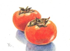 Akimova: PERSIMMONS, food, watercolor, ACEO, still life - $7.30