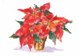 Akimova: POINSETTIA, watercolor, ACEO, flower, Christmas - $7.30