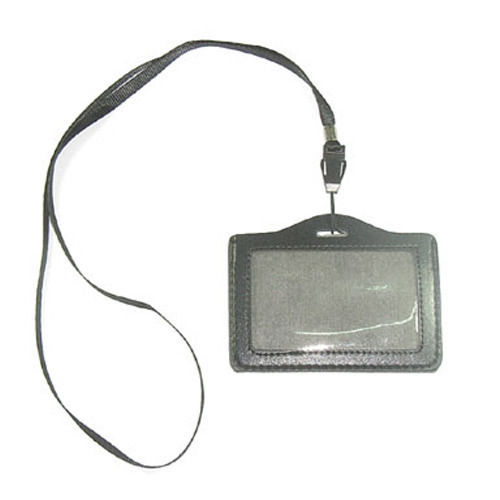 Primary image for New ID Company Permit Badge Card Holder Black PU Leather + Neckstrap