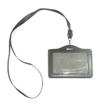 New ID Company Permit Badge Card Holder Black PU Leather + Neckstrap - $5.87