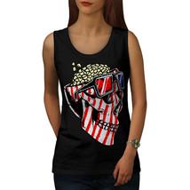 Skull Popcorn USA Funny Tee  Women Tank Top - $12.99