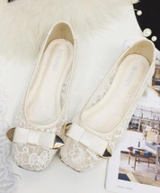 Beige Bridal Flats,Bridal Shoes,Bridesmaid Shoes, Ballet Flats,Low Weddi... - £32.17 GBP