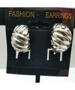 Half Loop Cross Hatch Silver Tone Clop On Earrings - $15.83