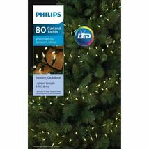 Philips 80ct LED Christmas Smooth Mini Garland String Lights Warm White NIB