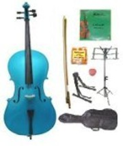 Lucky Gifts 1/2 Size Cello,Bag,Bow+Rosin+Extra Strings+Tuner+2 Stands ~ Blue - $138.88
