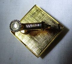 Pair NAPIER 1965 Screw Back Clip on Earrings Goldtone & Red Diamond Shape image 4