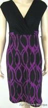 AGB Jewel Tone Black/Purple Sleeveless Empire Waist Dress Sz 6 New 7869 - $34.64