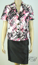 Le Suit Pink/White/Black Short Sleeve Jacket Bl... - $62.99