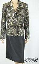 Evan Picone Black Multi Jacket Blazer Skirt Sui... - $62.36