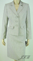 Le Suit Bark/White Peplum Jacket Blazer Skirt Suit Sizes 8P  $200 New 7895 - $62.99