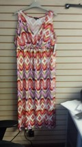 NEW NOTATIONS WOMENS PLUS SIZE 2X CHEVRON PRINT TWIST FRONT MAXI DRESS F... - $19.34