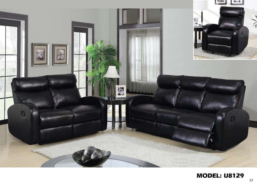 Global U8129 Black Bonded Leather Reclining Sofa Set
