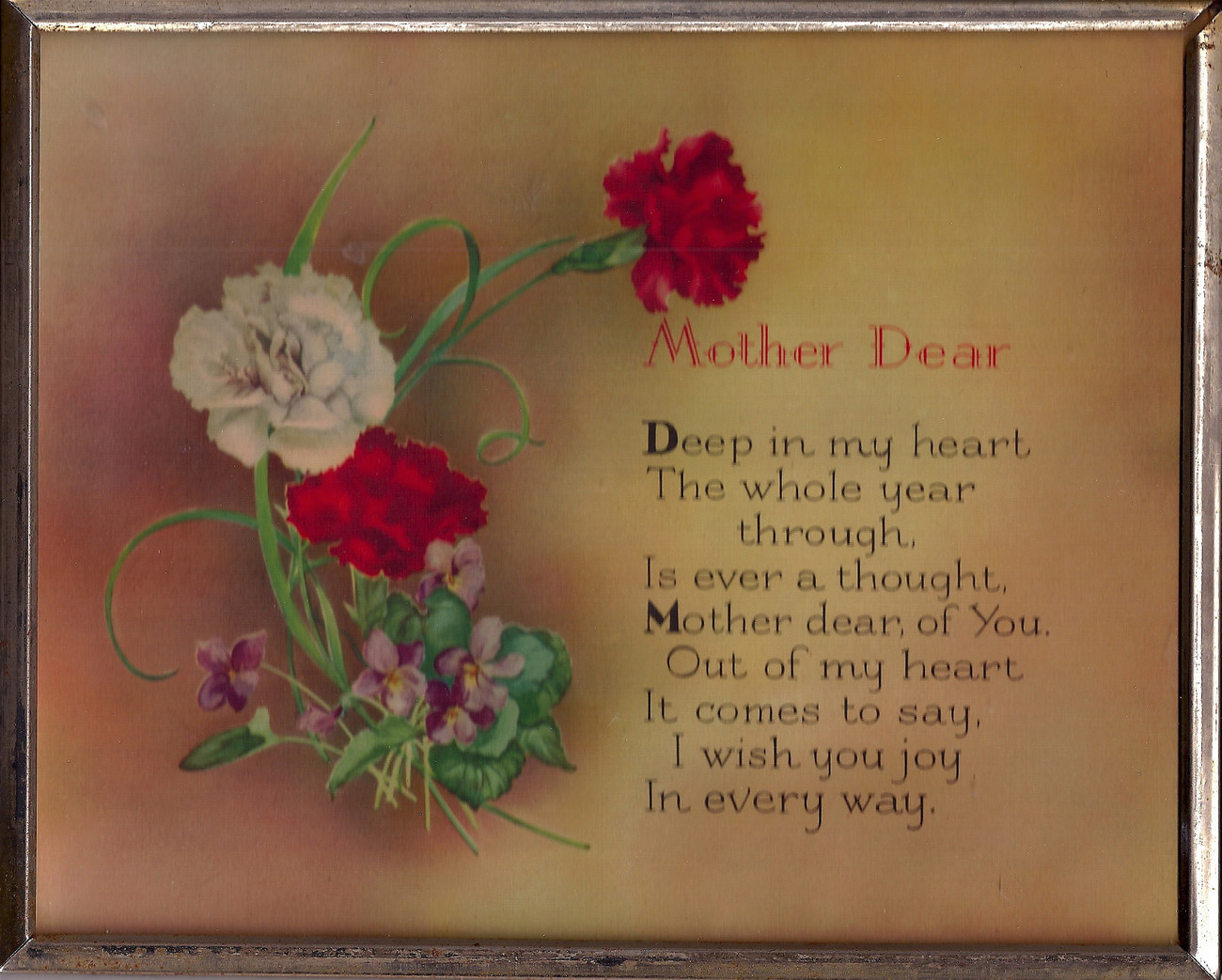 VTG Mother Dear Plaque Sign Great Mother's Day Gift Carnations+Violets Victorian