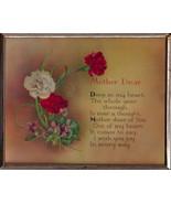 VTG Mother Dear Plaque Sign Great Mother's Day Gift Carnations+Violets V... - $12.95