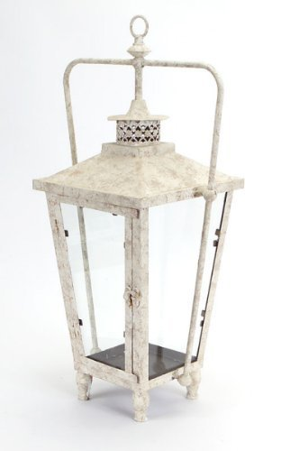 Rustic White Spackled Candle Holder Lanterns 23 INCH, SET OF 2
