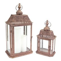 "Set of 2 Brown Rectangle Antique Candle Holder Lanterns 23"" - $108.60"