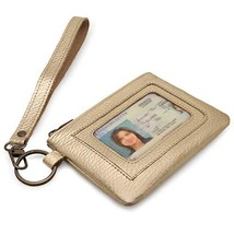 Otto Angelino Genuine Leather Zippered ID Wallet with Wrist Strap – Unisex Gold