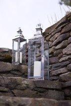 "Set of 2 Modern Stainless Steel Glass Pillar Candle Holder Lanterns 25"" - $134.70"