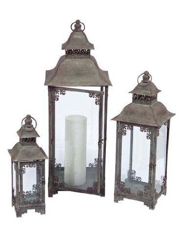 Set of 3 Country Vineyard Verdigris Decorative Multi-Sized Candle Lanterns