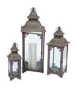 Set of 3 Country Vineyard Verdigris Decorative Multi-Sized Candle Lanterns - £81.80 GBP