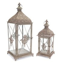 "Set of 2 Square Gray Antique Rustic Pillar Candle Holder Lanterns 24.5"" - $112.31"