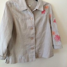 CHRISTOPHER & BANKS TAN ACCENT EMBROIDER LEAVES BUTTON FRONT JACKET~SIZE... - $7.50