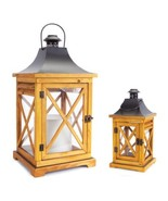 "Set of 2 Craftsman-Style Wooden and Glass Pillar Candle Holder Lanterns 20"" - $83.85"