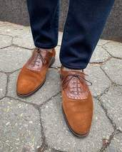 Handmade Men's Brown Suede and Leather Lace up Brogues Dress/Formal Oxford Shoes image 1
