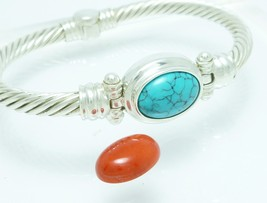 Sterling Changeable Turquoise Red Coral Gemstone Bangle Bracelet Small W... - $109.00