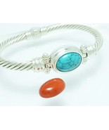 Sterling Changeable Turquoise Red Coral Gemston... - $109.00