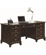 Double Pedestal Desk with 7 Drawers Spacious Cappuccino - $1,139.64