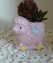 Vintage NAPCOWARE Pink Lamb on Wheels Planter, ... - $5.50