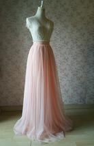 Women Blush Tulle Skirt Full Long Tulle Skirt, Blush Pink, High Waisted, Wedding image 2