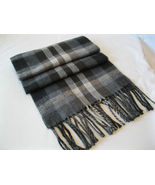 Nordstrom Cashmaire (Acrylic) Gray Brown Black Plaid Scarf  Made in Italy - $29.69