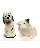 Pair of 2 Dog, Bull Dog Dalmatian Small Figurine Ceramic Porcelain Vintage  - £7.24 GBP